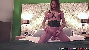 Solo shemale jerks cock