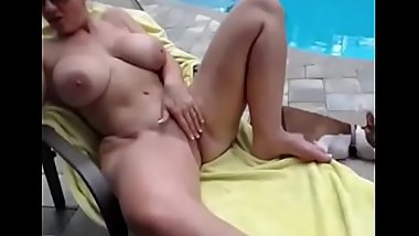 Horny milf gets fucked bay the pool