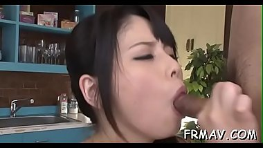 Eye-catching japanese darling pleases with wet irrumation