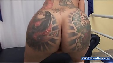 Masturbation porn with tattooed TS bimbo