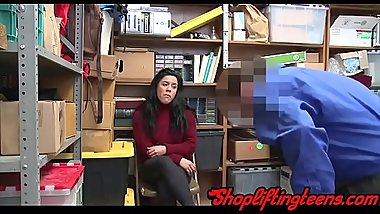 Delinquent teen with big tits riding dick after shoplifting