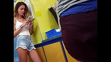Candid skinny model teen waiting in line beautiful