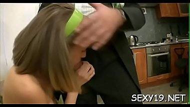 Angel is having hardcore sofa sex with hungry elderly teacher