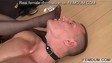 Hot mistress tortures young stud with whips, cigarettes and dildo