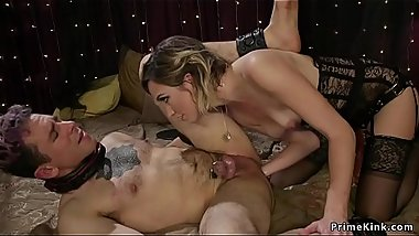 Mistress slut in lingerie anal fists male
