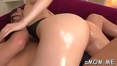 Sexy ass japanese milf tries dick in one as well as the other her tight holes