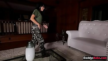 Obedient daughter fucks her military dad