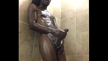 Big dick Jay stroking in the shower