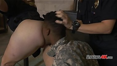 Fake soldier is subdued by perverted horny officers into fucking them