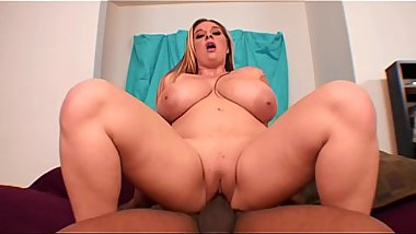 Black dude with giant dick fills up tiny pussy on thick big tit white slut April McKenzie