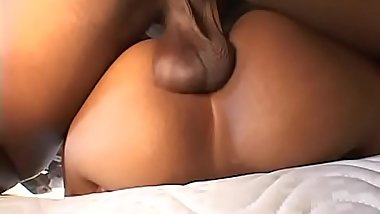 Ebony cheerleader takes it in her tight pussy