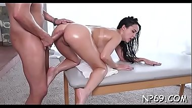 Sexy chick is filled with ecstasy from riding on men pecker