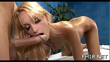Sexy fucked hard and facialed during a massage movie