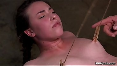 Shaved babe suffering rope suspension