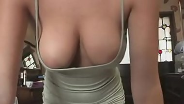 Hot office babe flashes her sexy cleavage