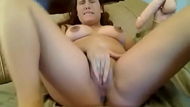 Horny milf masturbating and using a vacuum pump on her pussy