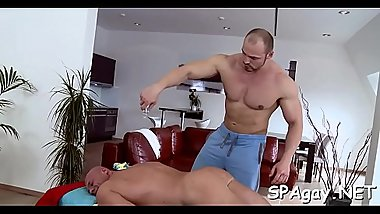 Explicit anal fucking for gracious dude during massage