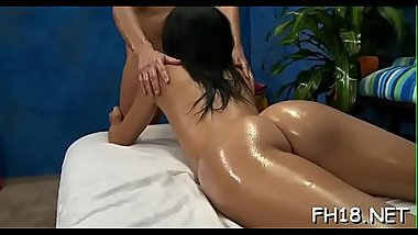 Hot drilled hard and facialed during a massage movie scene