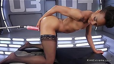 Ebony in stockings fucks huge dildo machine