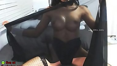 Asian model in heels and stockings - Live at livekojas.com