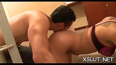 Foxy brunette hair with chubby ass facesiting submissive stud lustfully
