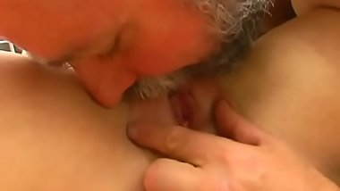 Horny juvenile amateur sweetheart gives old guy a steamy blowjob