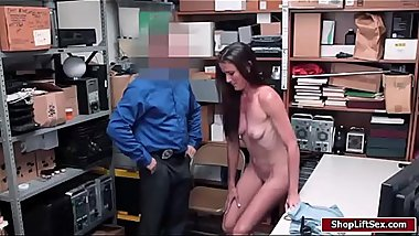 Officer licks and fucks shoplifters pussy