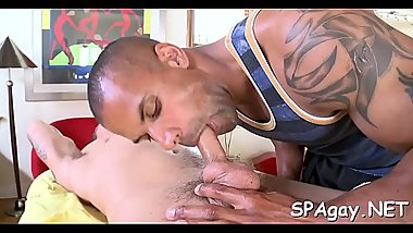 Exciting cock sucking and wild tugjob for hot homosexual hunk