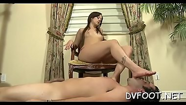 Sexy chick gets her foot sucked by a guy with a foot fetisj