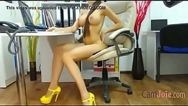 big tits webcam girl in high heels naked in office