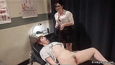 Sexy doctor anal fucks babe with tool