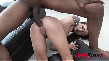 Holly Hendrix needs no toys, only three monster cocks in the ass