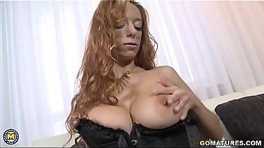 Horny mom playing with herself
