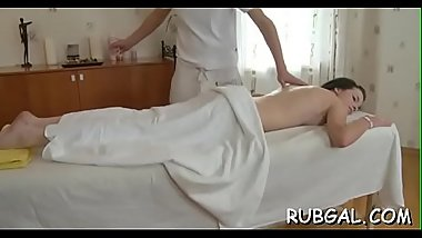Hot ramming of a wet and taut pussy in massage room