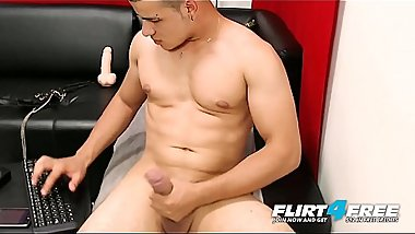 Federico Lorza - Flirt4Free - Thick Dicked Latino Muscle Stud Cums Hard with Vibrator Lodged Deep in His Ass