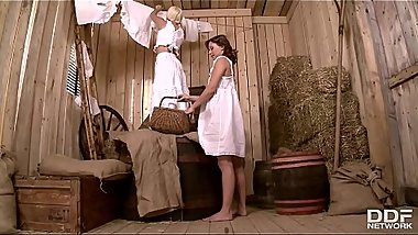 Horny Country Maidens Alysa &_ Jessie Volt Get Their Tight Assholes Gaped