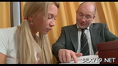 Horny teacher is pounding pleasant hottie senseless