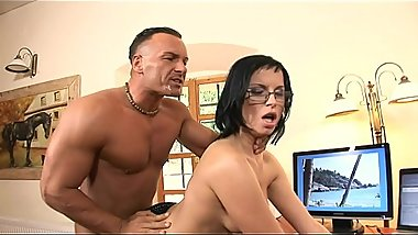 Smokin'_ brunette in glasses and fishnets Renata Black fucks and sucks her boss in the office