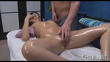 Hot 18 year old girl gets fucked hard from behind by her massagist