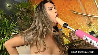 Hot n Bothered Tgirl Amanda Fialho Seeks Satisfaction from a Dildo Machine