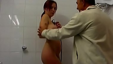 Lascivious young dilettante babe gives old guy a steamy blowjob
