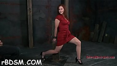 Chained beauty desires hardcore torturing for her pussy