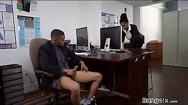 Black Hoe Sucking Her Boss In The Office