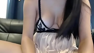 Sweet and Cute Asian Ladyboy wanking her Hard Thai cock