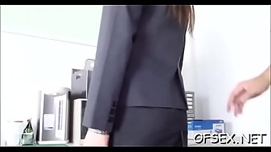 Charming young babe seduces an older guy in the office