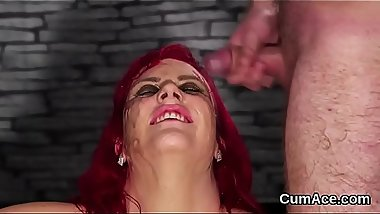 Wacky centerfold gets cum shot on her face gulping all the cream