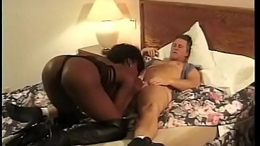 Black whore with amazing tits Karma deep throats white dick before fucking